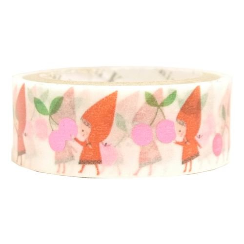 Shinzi Katoh White Washi Adhesive Tape with Cherries, Little Red Riding Hood, with Pink-Purple Metallic ()