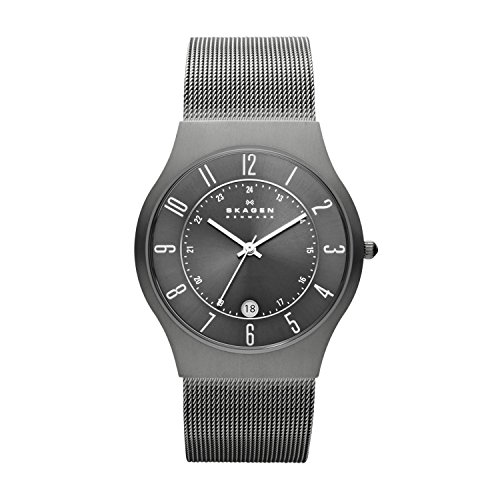 Skagen Men Grenen Quartz Titanium and Stainless Steel Dress Watch, Color: Grey (Model: -