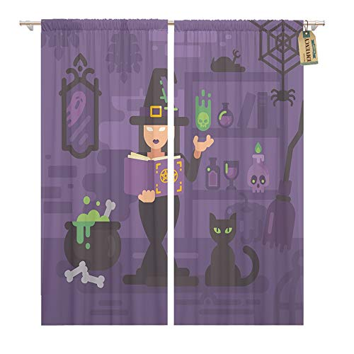 Emvency Window Curtains 2 Panels Rod Pocket Drapes Satin Polyester Blend Witch in Her House Studying Magic Young Sorceress Casting Spell Trick Treat Living Bedroom Drapes Set 104 x 96 Inches ()