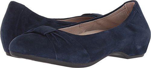 Dansko Women's Lina Navy Kid Suede 37 Regular EU - Front Wedge Bow