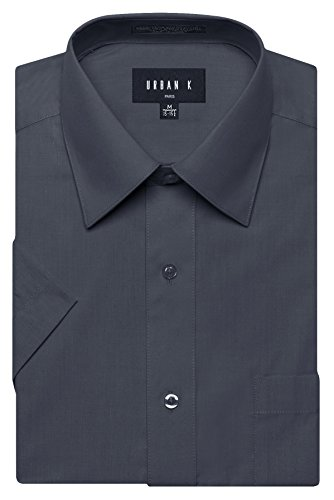 URBAN K Men's Classic Fit Solid Formal Collar Short Sleeve Dress Shirts Regular and Plus Size navy/Charcoal XL / 17-17.5 N (Classic Collar Shirt)