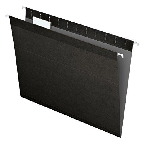 Pendaflex Reinforced Hanging File Folders, Letter Size, Black, 1/5 Cut, 25/BX  (4152 1/5 BLA)