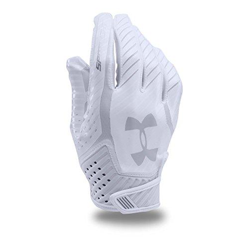 Under Armour Men's Spotlight Football Gloves,White (100)/Metallic Silver, Large