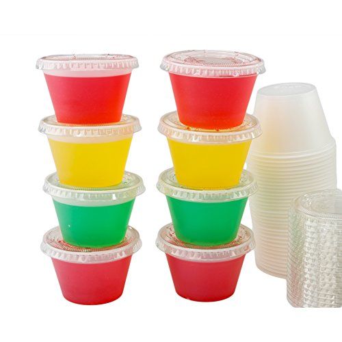 Katgely 4 Oz Translucent Plastic Portion Cup With Lid (Pack of 250)