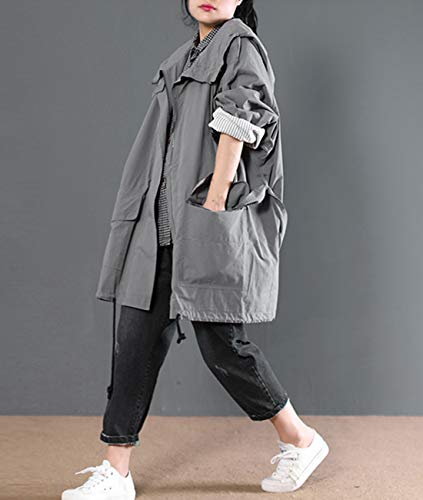 WF6 Hooded Yesno Wf6 Full Zip Jacket Gray Casua Active Plus Outwear Women Big Size Cotton Anorak Pockets Bdxqprd