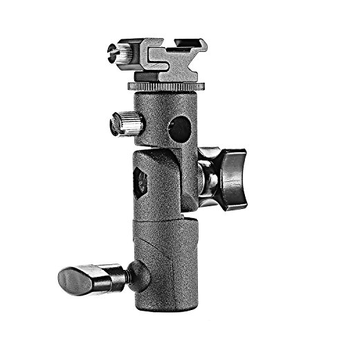 Neewer Professional Universal E Type Camera Flash Speedlite Mount Swivel Light Stand Bracket Umbrella Shoe Holder Fits Canon Nikon Pentax Olympus Nissin Metz and other Speedlite Flashes with Standard Shoe Mount (Bracket Flash Speedlight)