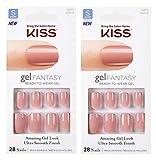2-PACK Kiss GEL FANTASYKGN12 (RIBBONS) Short Design Nails w/Adhesive Tabs & Glue