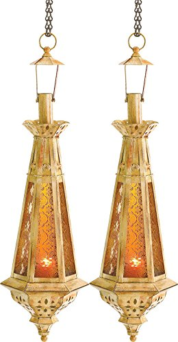 (Amber Teardrop Lantern Moroccan Hanging Candle Lamp 23 Inches Tall 2 Pc Lot)