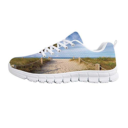 YOLIYANA Beach Lightweight Walking Shoes,Golden Sandy Beach South Miami with Fences American Style Holiday Login Relax Sneakers for Girls Womens,US Size 8 ()