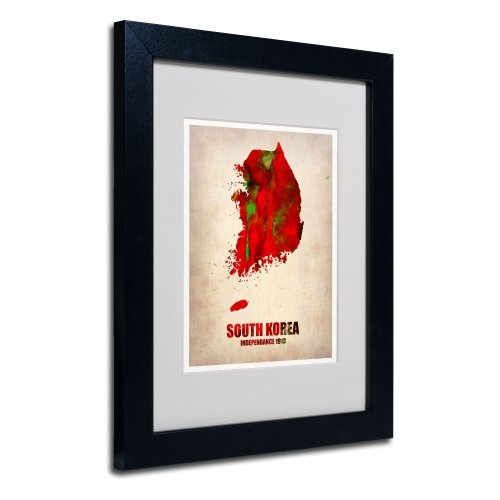 South Korea Watercolor Map by Naxart Matted Framed Art, 11 by 14-Inch, Black Frame from Trademark Fine Art