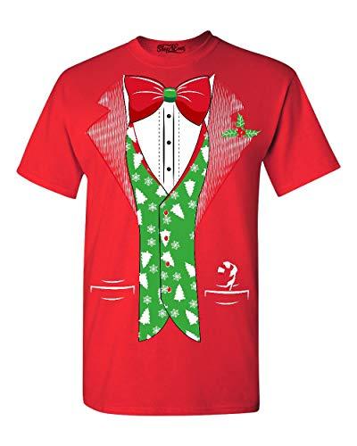 Shop4Ever Tuxedo Christmas Costume Tree Vest T-Shirt Xmas Shirts XX-LargeRed 0 -