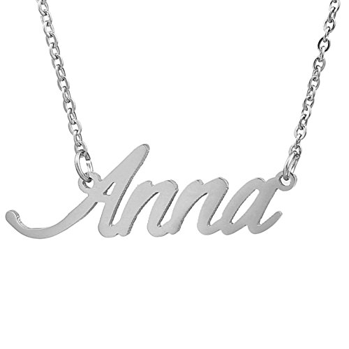 HUAN XUN Stainless Steel Name Pendant Jewelry Necklace, -