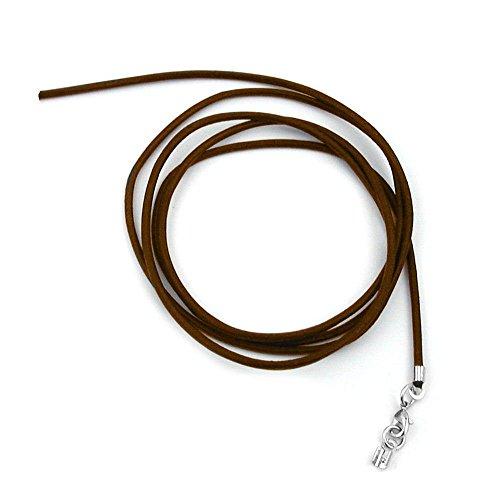 Unbespielt Lederband Kette Collier Halskette für Anhaenger braun für Damen Herren oder Kinder Verschluss Karabinerverschluss Silberfarbend Länge 1 m verkürzbar. Breite 2 mm