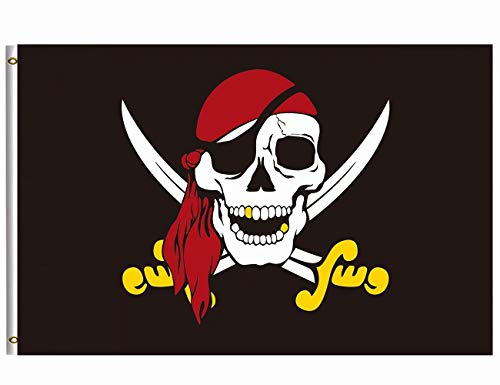 Wamika Jolly Roger Flag Pirate Flags 3x5 FT Brass Grommets Caribbean Captain Skull Red Scarf Gold Sword Garden Flag Banner Boat Sailing Boating Bar Indoor Outdoor Home Party Accessory - Caribbean 3 Jack Captain