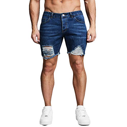 Men's Distressed Shorts Slim Fit Holes Denim Short Jeans Performance Slim Ripped Short Pants by Lowprofile
