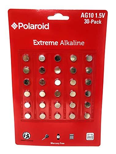 Polaroid Extreme AG10 LR54 389 390 L1130 L1131 189 1.5V Button Cell Alkaline Batteries No Mercury 0 Hg (30-Pack) - 2025 Expiry Date