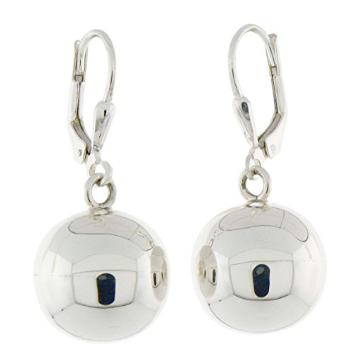 - Sterling Silver High Polished Ball Leverback Dangling Earrings, 14mm