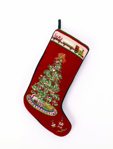 Christmas Tree with Toy Train Christmas Stocking, Wool Needlepoint, 11 Inch X 18 Inch by PHI