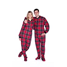 Red & Black Cotton Plaid Flannel Adult Footie Footed Pajamas