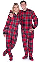 Big Feet PJs Red & Black Plaid Cotton Flannel Adult Footie Footed Pajamas w/ Drop seat