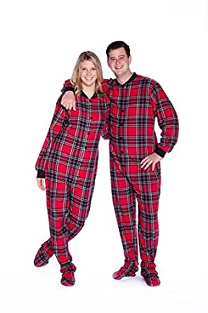 Red Plaid Cotton Flannel Adult Footed Pajamas w/ Drop-seat (XS)