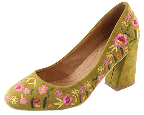 Stacked Pumps Toe Round Heel (Elegant Footwear Women's Floral Embroidered Stacked Block Heel Round Toe Pump (8 B(M) US, Olive))