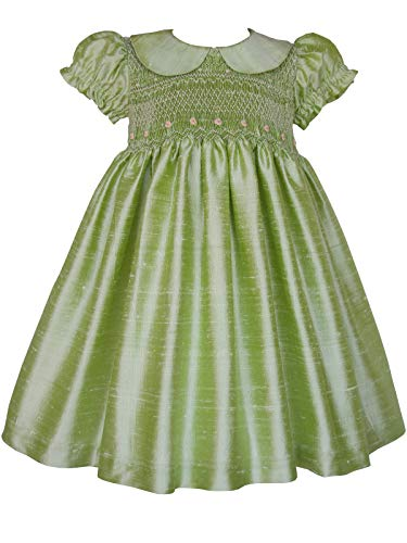 Carouselwear Apple Green Hand Smocked Flower Girls Silk Dress -