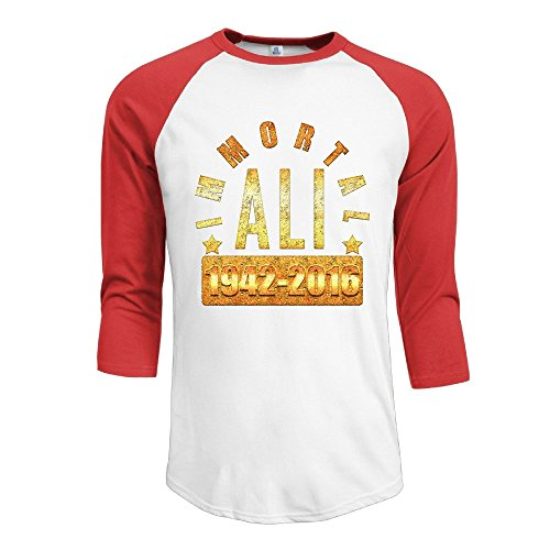 YI Own Men's Funny Ali 3/4 Sleeve Baseball T-Shirt Red