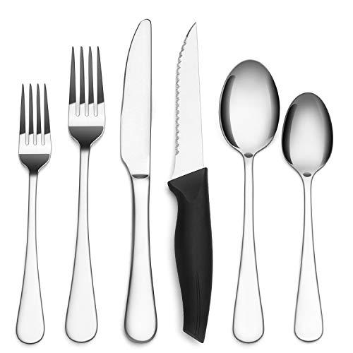Vanston 24-Piece Silverware Set with Steak Knife,Stainless Steel Flatware Set Service for 4,Mirror Polish Cutlery…