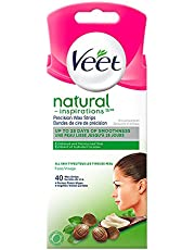 Veet Natural Inspirations Precision Wax Strips Face All Skin Types, 40 ct + 4 Perfect Finish wipes