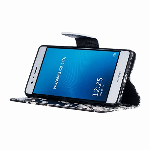 Yiizy Huawei P9 Lite Huawei G9 Lite Custodia Cover, Bianco Di Fiore Fluttering Design Sottile Flip Portafoglio PU Pelle Cuoio Copertura Shell Case Slot Schede Cavalletto Stile Libro Bumper Protettivo