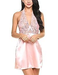 Avidlove Women Halter Lingerie Lace Cup Chemises Satin Sleepwear Mini Nightgowns