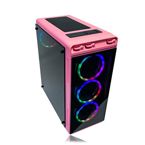 Gaming PC Desktop Computer Pink by Alarco Intel i5 3.10GHz,8GB Ram,1TB Hard Drive,Windows 10 Pro,WiFi Ready, Video Card Nvidia GTX 650 1GB, 4 RGB Fans. Pre-Built and Ready for Gaming, Plug and Play. (Nvidia 650 Gtx)
