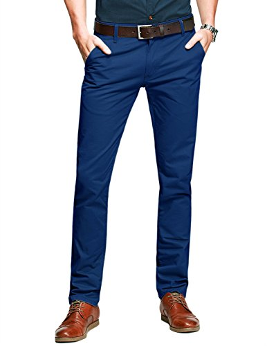 Match Mens Slim-Tapered Flat-Front Casual Pants(Sapphire Blue,34)