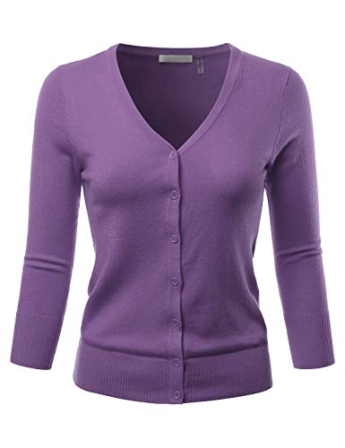 EIMIN Women's 3/4 Sleeve V-Neck Button Down Stretch Knit Cardigan Sweater Blueberry 2XL
