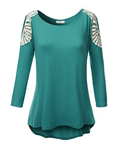 Doublju Women Handkerchief Hem Line Long Sleeve Lightweight Knitting Tunic Top
