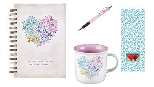 Violet Floral Heart Mug and Journal, Floral Ink Pen with Bookmark Bundle