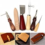 Craftsmanship Instrument Outfit - 6pcs Wood Handle Leather Craft Tool Kit Hand Sewing Punch Cutter Diy Set - Cunning Shaft Slyness Drive Guile Puppet Trade Creature Workmanship Dick