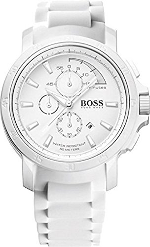 Rubber White Dial - Hugo Boss White Out Chronograph White Dial White Rubber Mens Watch 1512848