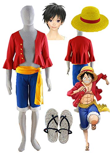 YOUYI One Piece Luffy Cosplay Costume Halloween Monkey D Luffy Cosplay Full Suit (Male M) Red]()