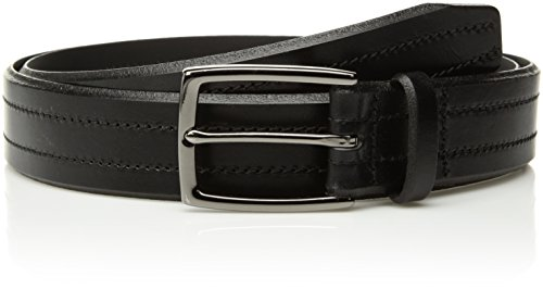 Circa Men's Handcrafted Italian Leather Double-Stitched Belt, Black size (Black Stitched Leather)