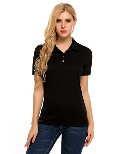 Zeagoo Womens Short Sleeves Solid Polo Top Pique T-Shirt