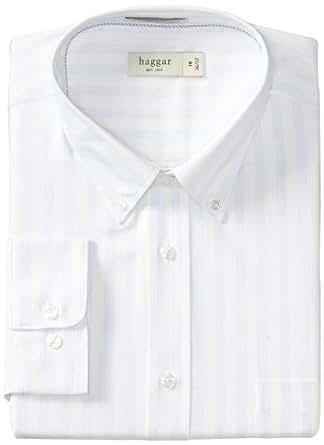 Haggar Men's Regular Fit Pinpoint Oxford Long Sleeve Pattern Dress Shirt, Light Sky, 14.5(34/35)