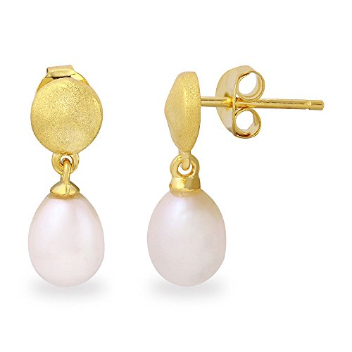 Sterling Silver Matte Finish Gold Plated Disc With Hanging Fresh Water Synthetic Pearl Earrings (Matte Disk Opal)