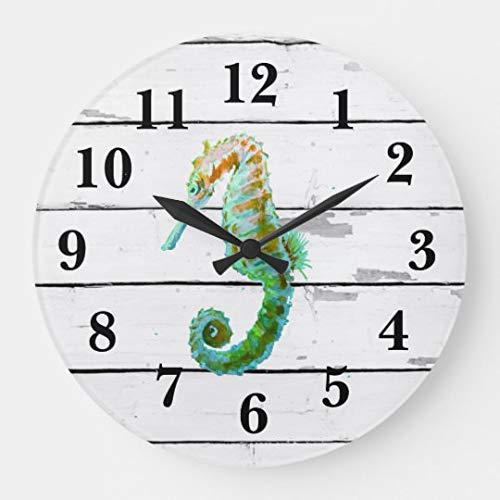 (Moonluna Seahorse Beach Decor Rustic Shiplap Wall Clocks Large Decorative Wooden Quartz Silent Clock 14 Inches Home Clock Gifts for Women)