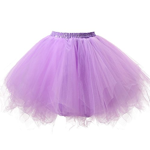 Honeystore Women's Short Vintage Ballet Bubble Puffy Tutu Petticoat Skirt Lavender by Honeystore