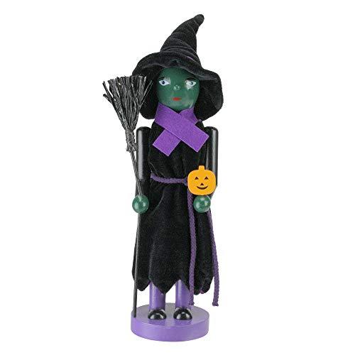 Northlight Green Witch Decorative Wooden Halloween Nutcracker Holding Broom and Jack-O-Lantern, - 14 Wooden Inch Nutcracker