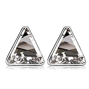 ZMC Women's Rhodium Plated Alloy Swarovski and Austrian Crystals Stud Earrings, Silver/White