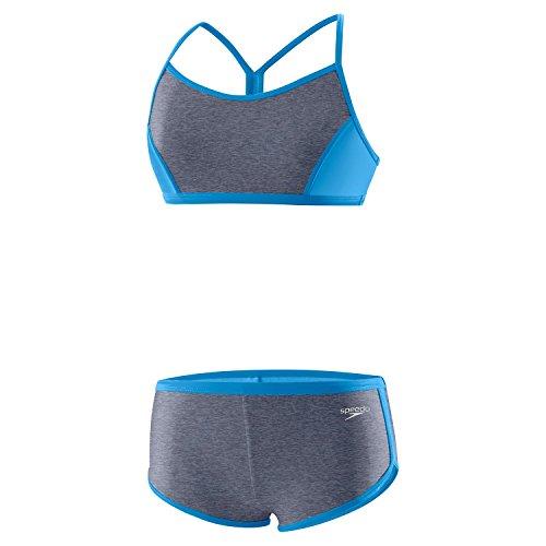 Speedo Girls Heather Splice Boyshort Two Piece, Heather Grey, Size 8 (Piece Speedo Two Swimsuit)