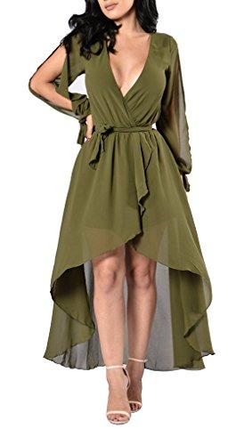 Les Femmes Blansdi V Cou Divisé Manches Longues En Mousseline De Soie Asymétrique Casual Vert Robe Maxi Clubwear De Ceinture